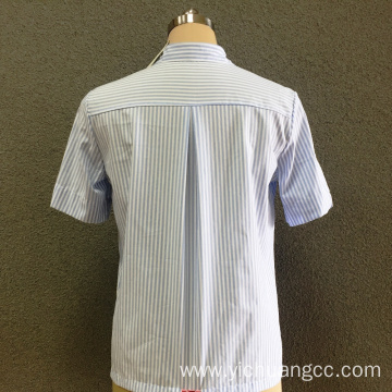 Women's cotton blue striped short sleeves shirt