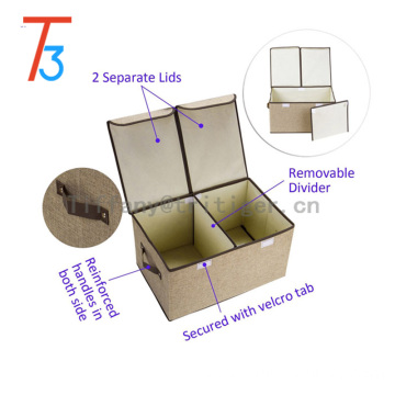 Foldable Thick Polyester Storage Bin Clothes Organizer Box 2 Lids fabric organizer separate storage box cardboard