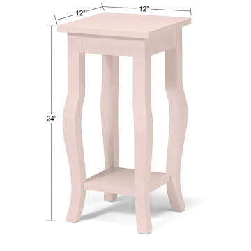 Vintage Pale Pink Wood Pedestal End Table with Curved Legs and Shelf