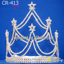 7 Inch custom rhinestone star tiara pageant crowns