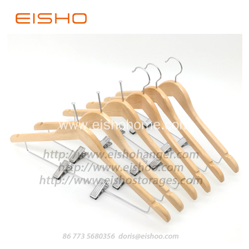 EISHO Wholesale Hotel Wood Hanger Bulk With Clips