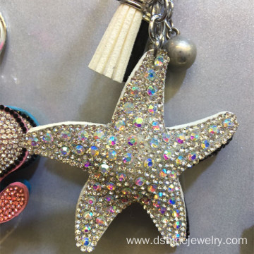 Starfish Leather Velvet Tassel Keychain Crystal Keyring