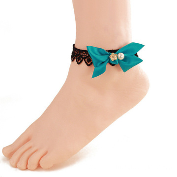 Foot Jewelry Sex Black Lace Anklet Bracelet Bowknot Pearl