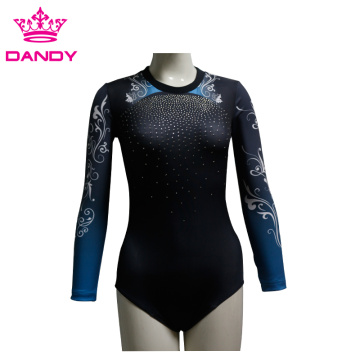 Comfortable Custom Long Sleeves Dance Suit With Rhinestone