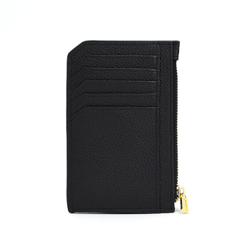 Saffiano Leather Zipper Coin Men Card Holder