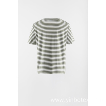 Applique stripe knit short sleeve Tshirt