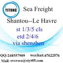 Shantou port sea freight shipping to Le Havre