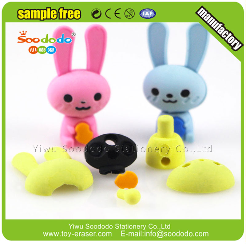 Soododo CHEAP 3D Stationery Rabbit Shape Eraser