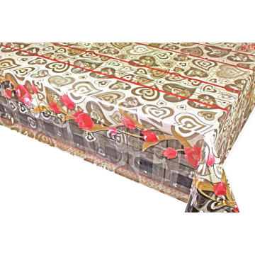 Double Face Emboss printed Gold Silver Tablecloth Red