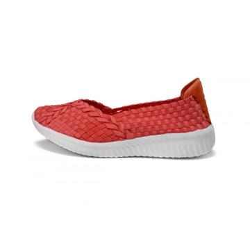 Supply for Ladies Flat Shoes Delicate Watermelon Red Elastic Casual Woven Shoes supply to France Factory