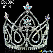 6 Inch Rhinestone Crown Hair Tiara For Banquet