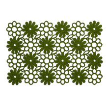 Green daisy pattern felt table runner