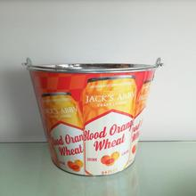 Metal tin ice bucket in home