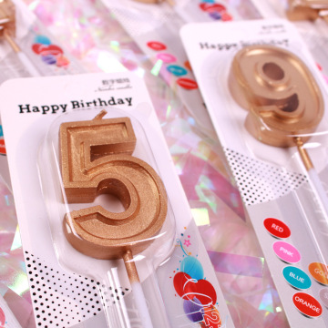 Supply 2019 new design gold number birthday candle