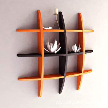 Globe Shape MDF Floating Wall Shelf, Orange and Black