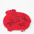 Chinese red paper-cut commemorative gift coasters