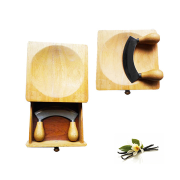 Herb chopper with wooden bowl cutting board