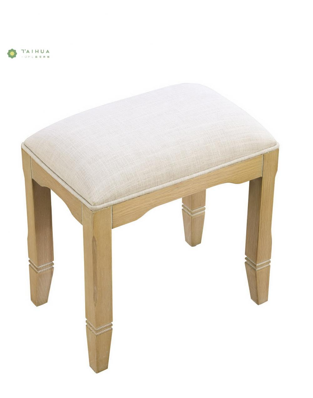 Solid Wood Dresser Stool Fabric Cushion