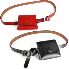 Minimalist Red Small Genuine Leather Fanny Packs Belt