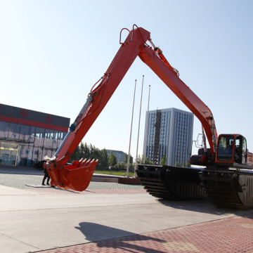 Amphibious excavator with side pontoons