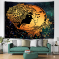 Moon and Sun Tapestry Wall Hanging Bohemian Mandala Indian Hippie Galaxy Yellow Wall Tapestry for Livingroom Bedroom Dorm Home D