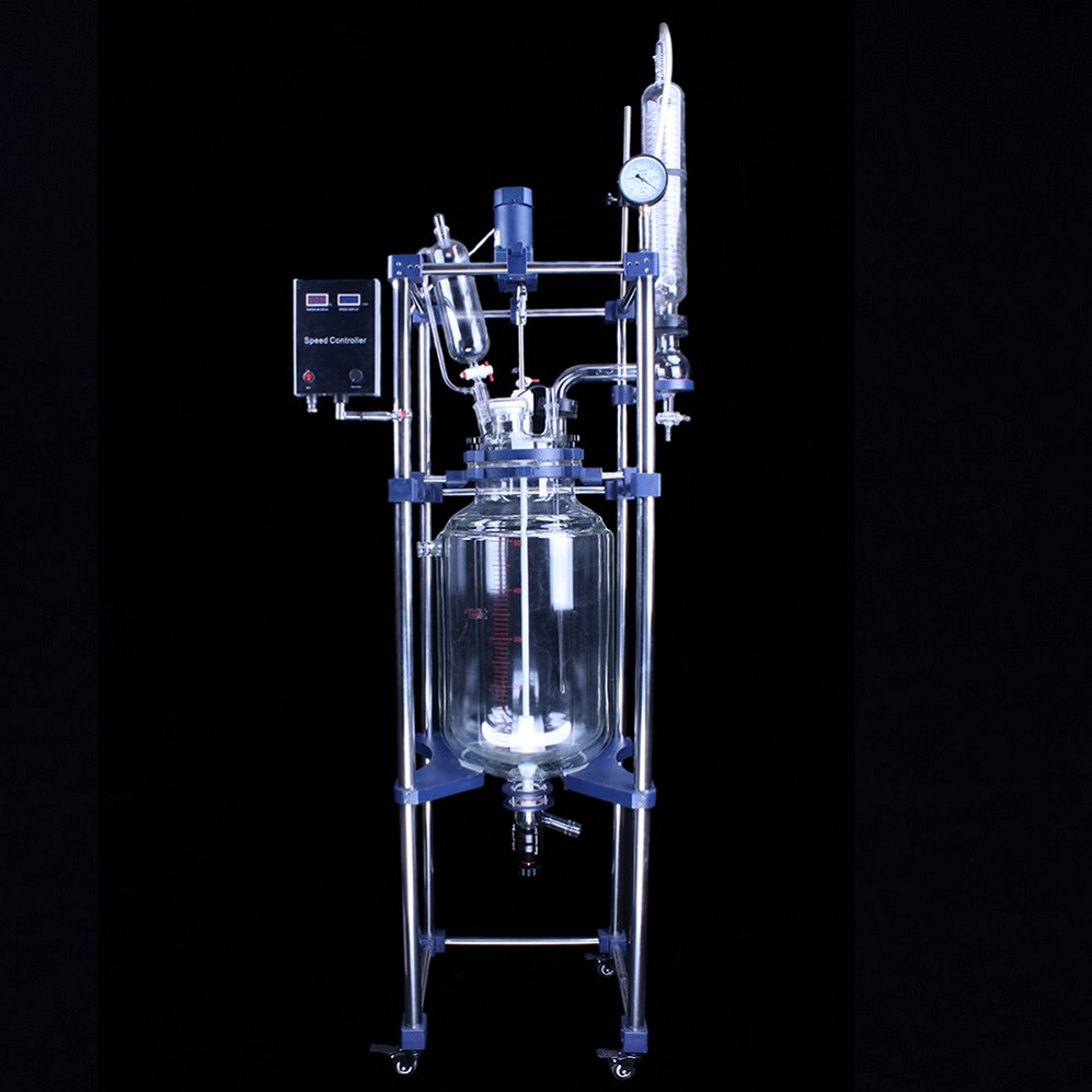 20l jacketed glass laboratory reactor vessel