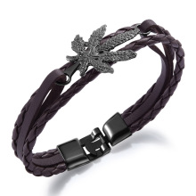 Womens braided leather maple leaf bracelet