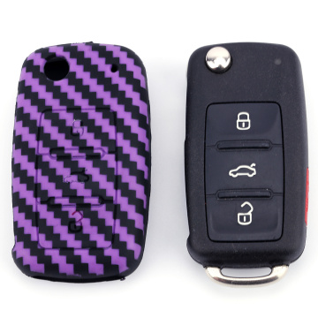 Silicone Carbon Fiber Key Case pour VW