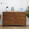 Dark Brown Chest with 6 Drawers Solid Rubber