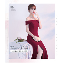 Evening dress female banquet elegant long paragraph sexy black word shoulder Slim tail host dress