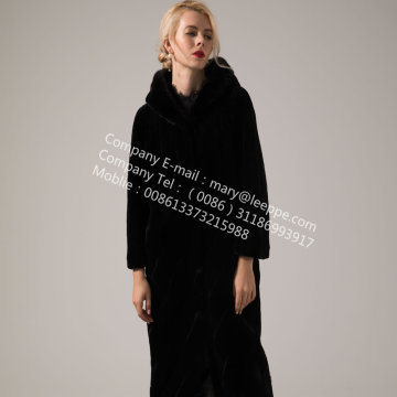 Winter Women Hooded Kopenhagen Mink Fur Coat
