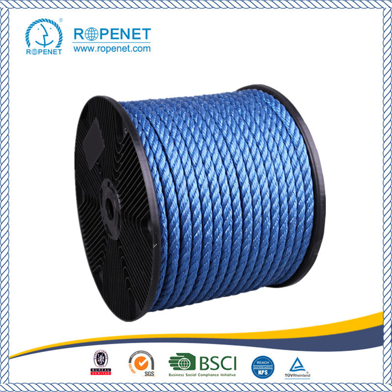 High Quality 3 Strands Twisted PP Blue Rope