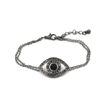 Rhinestone Women Alloy Charm Chain Diamond Evil Eye Bracelet