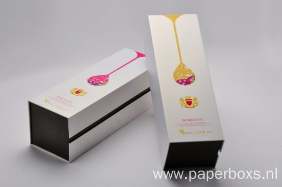 Luxury White Folding Wine Packaging Paper Box