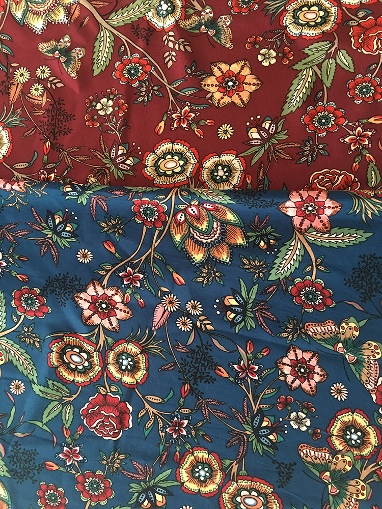 Ethnic Flower Rayon Poplin 45S Light Printing Fabric