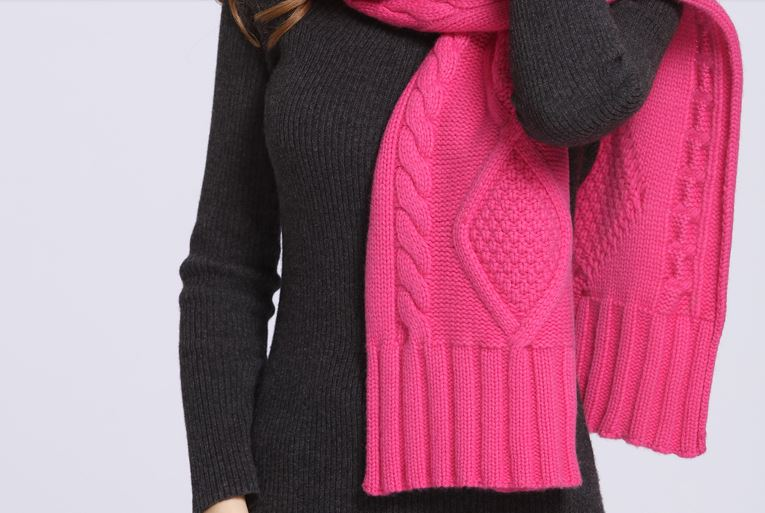 90% Wool 10% Cashmere Knitted Scarf -7