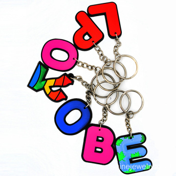 Cheap Letters Silicon Keychain Multi Color Rubber Keychain