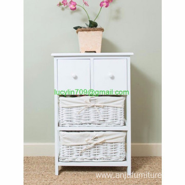 White Nightstand Bedside Table Cabinet Storage End Side Table Wicker Drawers
