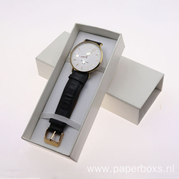 White Printing Rectangle Shape Watch Storage Gift Box