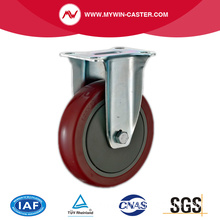 Fixed Plate Red PU Medium Duty Caster Wheels