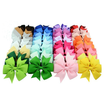 Plain ribbed ribbon fish-tail bow hair clip