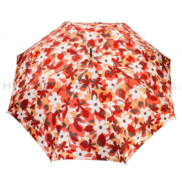 Windproof Ladies Satin Auto Open Straight Umbrella