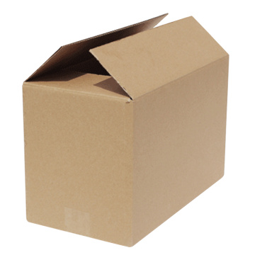 large empty corrugated paper box with hot stamping