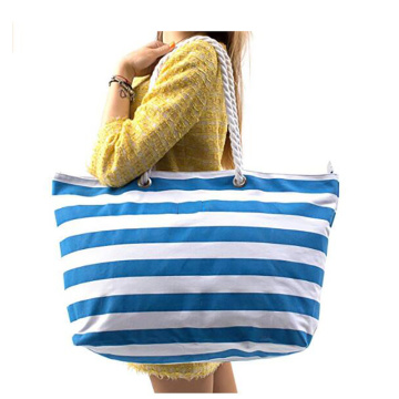Large Striped Canvas Beach Bag With Waterproof Lining