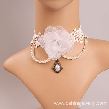 Good Quality for Lace Choker Necklace Fashion White Rose Choker With Pearl Tassel Bridal Jewelry export to Turkey Factory