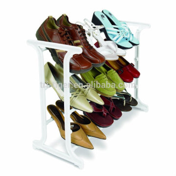 wholesale alibaba new products White color 3 Tier 9 Pair Stackable Iron shoe rack organizer