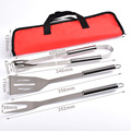 3pcs bbq grill tools set with red bag