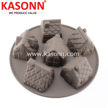 6 Cavity silikon Gingerbread House Cake Baking Molds