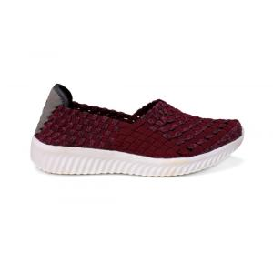 Wine red flexible Woven Holes Shoes