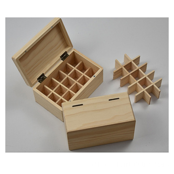 Essential Oil Box 15 Slots Fits Tall Roller Bottles Natural Pine Wooden box